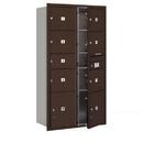 Salsbury Industries 3716D-07ZFU Recessed Mounted 4C Horizontal Mailbox-Maximum Height Unit (56 3/4 Inches)-Double Column-1 MB2 Door / 6 MB3 Doors / 2 PL4.5's-Bronze-Front Loading-USPS Access