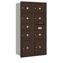Salsbury Industries 3716D-07ZRP Recessed Mounted 4C Horizontal Mailbox-Maximum Height Unit (56 3/4 Inches)-Double Column-1 MB2 Door / 6 MB3 Doors / 2 PL4.5's-Bronze-Rear Loading-Private Access