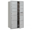 Salsbury Industries 3716D-09AFU Recessed Mounted 4C Horizontal Mailbox-Maximum Height Unit (56 3/4 Inches)-Double Column-7 MB2 Doors / 2 MB3 Doors / 2 PL4.5's-Aluminum-Front Loading-USPS Access