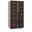 Salsbury Industries 3716D-09ZFU Recessed Mounted 4C Horizontal Mailbox-Maximum Height Unit (56 3/4 Inches)-Double Column-7 MB2 Doors / 2 MB3 Doors / 2 PL4.5's-Bronze-Front Loading-USPS Access