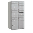 Salsbury Industries 3716D-19ARP Recessed Mounted 4C Horizontal Mailbox - Maximum Height Unit (56 3/4 Inches) - Double Column - 19 MB1 Doors / 2 PL4.5's - Aluminum - Rear Loading - Private Access