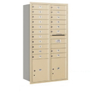 Salsbury Industries 3716D-19SRP Recessed Mounted 4C Horizontal Mailbox - Maximum Height Unit (56 3/4 Inches) - Double Column - 19 MB1 Doors / 2 PL4.5's - Sandstone - Rear Loading - Private Access