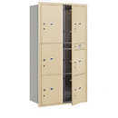 Salsbury Industries 3716D-6PSFU Recessed Mounted 4C Horizontal Mailbox-Maximum Height Unit(56 3/4 Inches)-Double Column-Stand-Alone Parcel Locker-Sandstone-Front Loading