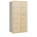 Salsbury Industries 3716D-6PSRP Recessed Mounted 4C Horizontal Mailbox-Maximum Height Unit(56 3/4 Inches)-Double Column-Stand-Alone Parcel Locker-Sandstone-Rear Loading