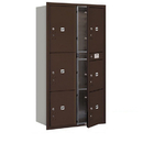 Salsbury Industries 3716D-6PZFU Recessed Mounted 4C Horizontal Mailbox-Maximum Height Unit(56 3/4 Inches)-Double Column-Stand-Alone Parcel Locker-Bronze-Front Loading