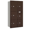 Salsbury Industries 3716D-6PZRP Recessed Mounted 4C Horizontal Mailbox-Maximum Height Unit(56 3/4 Inches)-Double Column-Stand-Alone Parcel Locker-Bronze-Rear Loading