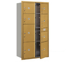 Salsbury Industries 3716D-8PGFP Recessed Mounted 4C Horizontal Mailbox-Maximum Height Unit (56 3/4 Inches)-Double Column-Stand-Alone Parcel Locker-4 PL3's/1 PL4/2 PL4.5's/1 PL5-Gold-Front Loading
