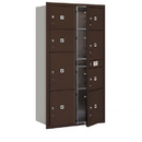 Salsbury Industries 3716D-8PZFP Recessed Mounted 4C Horizontal Mailbox-Maximum Height Unit(56 3/4 Inches)-Double Column-Stand-Alone Parcel Locker-Bronze-Front Loading