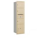 Salsbury Industries 3716S-03SRU Recessed Mounted 4C Horizontal Mailbox - Maximum Height Unit (56 3/4 Inches) - Single Column - 3 MB3 Doors / 1 PL4.5 - Sandstone - Rear Loading - USPS Access