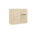 Salsbury Industries 3806D-02SFU Surface Mounted 4C Horizontal Mailbox Unit - 6 Door High Unit (24-5/8 Inches) - Double Column - 2 MB2 Doors / 1 PL6 - Sandstone - Front Loading - USPS Access
