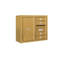 Salsbury Industries 3806D-04GFU Surface Mounted 4C Horizontal Mailbox Unit - 6 Door High Unit (24-5/8 Inches) - Double Column - 4 MB1 Doors / 1 PL6 - Gold - Front Loading - USPS Access