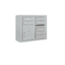 Salsbury Industries 3806D-06AFP Surface Mounted 4C Horizontal Mailbox Unit - 6 Door High Unit (24-5/8 Inches) - Double Column - 6 MB1 Doors / 1 PL4 - Aluminum - Front Loading - Private Access