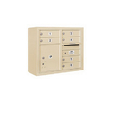 Salsbury Industries 3806D-06SFU Surface Mounted 4C Horizontal Mailbox Unit - 6 Door High Unit (24-5/8 Inches) - Double Column - 6 MB1 Doors / 1 PL4 - Sandstone - Front Loading - USPS Access
