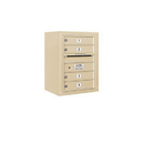 Salsbury Industries 3806S-04SFP Surface Mounted 4C Horizontal Mailbox Unit - 6 Door High Unit (24-5/8 Inches) - Single Column - 4 MB1 Doors - Sandstone - Front Loading - Private Access
