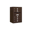 Salsbury Industries 3807S-05ZFP Surface Mounted 4C Horizontal Mailbox Unit - 7 Door High Unit (28-1/8 Inches) - Single Column - 5 MB1 Doors - Bronze - Front Loading - Private Access