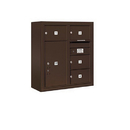 Salsbury Industries 3808D-04ZFP Surface Mounted 4C Horizontal Mailbox Unit - 8 Door High Unit (31-5/8 Inches) - Double Column - 4 MB2 Doors / 1 PL6 - Bronze - Front Loading - Private Access