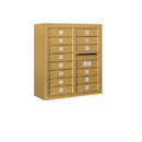 Salsbury Industries 3808D-14GFP Surface Mounted 4C Horizontal Mailbox Unit - 8 Door High Unit (31-5/8 Inches) - Double Column - 14 MB1 Doors - Gold - Front Loading - Private Access