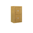 Salsbury Industries 3808S-2PGFP Surface Mounted 4C Horizontal Mailbox Unit-8 Door High Unit (31-5/8 Inches)-Single Column-Stand-Alone Parcel Locker-2 PL4's-Gold-Front Loading-Private Access