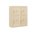Salsbury Industries 3809D-4PSFU Surface Mounted 4C Horizontal Mailbox Unit-9 Door High Unit(35-1/8 Inches)-Double Column-Stand-Alone Parcel Locker-Sandstone-Front Loading-USPS Access