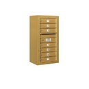 Salsbury Industries 3809S-07GFP Surface Mounted 4C Horizontal Mailbox Unit - 9 Door High Unit (35-1/8 Inches) - Single Column - 7 MB1 Doors - Gold - Front Loading - Private Access