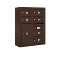 Salsbury Industries 3810D-06ZFP Surface Mounted 4C Horizontal Mailbox Unit - 10 Door High Unit (38-5/8 Inches) - Double Column - 6 MB2 Doors / 1 PL6 - Bronze - Front Loading - Private Access