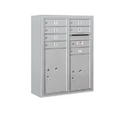 Salsbury Industries 3810D-07AFP Surface Mounted 4C Horizontal Mailbox Unit-10 Door High Unit (38-5/8 Inches)-Double Column-7 MB1 Doors / 1 PL5 and 1 PL6-Aluminum-Front Loading-Private Access