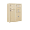 Salsbury Industries 3810D-07SFP Surface Mounted 4C Horizontal Mailbox Unit-10 Door High Unit (38-5/8 Inches)-Double Column-7 MB1 Doors / 1 PL5 and 1 PL6-Sandstone-Front Loading-Private Access
