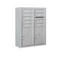 Salsbury Industries 3810D-08AFP Surface Mounted 4C Horizontal Mailbox Unit - 10 Door High Unit (38-5/8 Inches) - Double Column - 8 MB1 Doors / 2 PL5's - Aluminum - Front Loading - Private Access