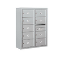 Salsbury Industries 3810D-09AFP Surface Mounted 4C Horizontal Mailbox Unit - 10 Door High Unit (38-5/8 Inches) - Double Column - 9 MB2 Doors - Aluminum - Front Loading - Private Access