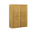 Salsbury Industries 3810D-4PGFU Surface Mounted 4C Horizontal Mailbox Unit-10 Door High Unit (38-5/8 Inches)-Double Column-Stand-Alone Parcel Locker-4 PL5's-Gold-Front Loading-USPS Access