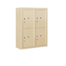 Salsbury Industries 3810D-4PSFP Surface Mounted 4C Horizontal Mailbox Unit-10 Door High Unit (38-5/8 Inches)-Double Column-Stand-Alone Parcel Locker-4 PL5's-Sandstone-Front Loading-Private Access