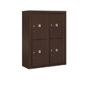 Salsbury Industries 3810D-4PZFP Surface Mounted 4C Horizontal Mailbox Unit-10 Door High Unit (38-5/8 Inches)-Double Column-Stand-Alone Parcel Locker-4 PL5's-Bronze-Front Loading-Private Access