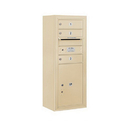 Salsbury Industries 3810S-03SFP Surface Mounted 4C Horizontal Mailbox Unit - 10 Door High Unit (38-5/8 Inches) - Single Column - 3 MB1 Doors / 1 PL5 - Sandstone - Front Loading - Private Access