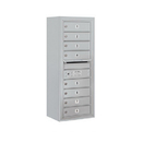 Salsbury Industries 3810S-08AFP Surface Mounted 4C Horizontal Mailbox Unit - 10 Door High Unit (38-5/8 Inches) - Single Column - 8 MB1 Doors - Aluminum - Front Loading - Private Access