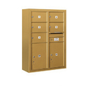 Salsbury Industries 3811D-05GFP Surface Mounted 4C Horizontal Mailbox Unit - 11 Door High Unit (42-1/8 Inches) - Double Column - 5 MB2 Doors / 2 PL5's - Gold - Front Loading - Private Access