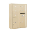 Salsbury Industries 3811D-05SFP Surface Mounted 4C Horizontal Mailbox Unit - 11 Door High Unit (42-1/8 Inches) - Double Column - 5 MB2 Doors / 2 PL5's - Sandstone - Front Loading - Private Access