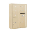 Salsbury Industries 3811D-05SFU Surface Mounted 4C Horizontal Mailbox Unit - 11 Door High Unit (42-1/8 Inches) - Double Column - 5 MB2 Doors / 2 PL5's - Sandstone - Front Loading - USPS Access