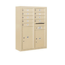 Salsbury Industries 3811D-09SFU Surface Mounted 4C Horizontal Mailbox Unit - 11 Door High Unit (42-1/8 Inches) - Double Column - 9 MB1 Door / 1 PL5/1 PL6 - Sandstone - Front Loading - USPS Access
