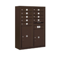 Salsbury Industries 3811D-09ZFP Surface Mounted 4C Horizontal Mailbox Unit - 11 Door High Unit (42-1/8 Inches) - Double Column - 9 MB1 Door / 1 PL5/1 PL6 - Bronze - Front Loading - Private Access