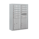 Salsbury Industries 3811D-10AFP Surface Mounted 4C Horizontal Mailbox Unit - 11 Door High Unit (42-1/8 Inches) - Double Column - 10 MB1 Doors / 2 PL5's - Aluminum - Front Loading - Private Access