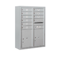 Salsbury Industries 3811D-10AFU Surface Mounted 4C Horizontal Mailbox Unit - 11 Door High Unit (42-1/8 Inches) - Double Column - 10 MB1 Doors / 2 PL5's - Aluminum - Front Loading - USPS Access