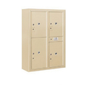 Salsbury Industries 3811D-4PSFP Surface Mounted 4C Horizontal Mailbox Unit-11 Door High Unit(42-1/8 Inches)-Double Column-Stand-Alone Parcel Locker-Sandstone-Front Loading-Private Access