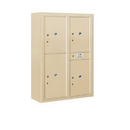 Salsbury Industries 3811D-4PSFU Surface Mounted 4C Horizontal Mailbox Unit-11 Door High Unit(42-1/8 Inches)-Double Column-Stand-Alone Parcel Locker-Sandstone-Front Loading-USPS Access