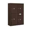 Salsbury Industries 3811D-4PZFP Surface Mounted 4C Horizontal Mailbox Unit-11 Door High Unit(42-1/8 Inches)-Double Column-Stand-Alone Parcel Locker-Bronze-Front Loading-Private Access