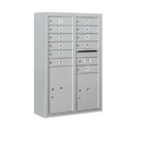 Salsbury Industries 3812D-11AFP Surface Mounted 4C Horizontal Mailbox Unit-12 Door High Unit (45-5/8 Inches)-Double Column-11 MB1 Doors / 1 PL5 and 1 PL6-Aluminum-Front Loading-Private Access