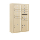 Salsbury Industries 3812D-11SFU Surface Mounted 4C Horizontal Mailbox Unit-12 Door High Unit (45-5/8 Inches)-Double Column-11 MB1 Doors / 1 PL5 and 1 PL6-Sandstone-Front Loading-USPS Access