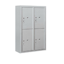 Salsbury Industries 3812D-4PAFU Surface Mounted 4C Horizontal Mailbox Unit-12 Door High Unit (45-5/8 Inches)-Double Column-Stand-Alone Parcel Locker-4 PL6's-Aluminum-Front Loading-USPS Access