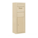 Salsbury Industries 3812S-1CSF Surface Mounted 4C Horizontal Collection Box (Includes 3712S-1CSF and 3812S-SAN Enclosure) - Single Column - Sandstone - Front Access