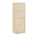 Salsbury Industries 3812S-2PSFP Surface Mounted 4C Horizontal Mailbox Unit-12 Door High Unit (45-5/8 Inches)-Single Column-Stand-Alone Parcel Locker-2 PL6's-Sandstone-Front Loading-Private Access