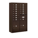 Salsbury Industries 3813D-14ZFP Surface Mounted 4C Horizontal Mailbox Unit - 13 Door High Unit (49-1/8 Inches) - Double Column - 14 MB1 Doors / 2 PL5's - Bronze - Front Loading - Private Access